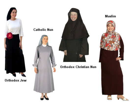 Similarities to all the women of religion of these different faiths