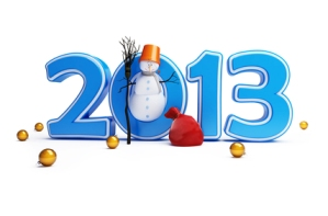 Snowmen happy new year 2013 on a white background