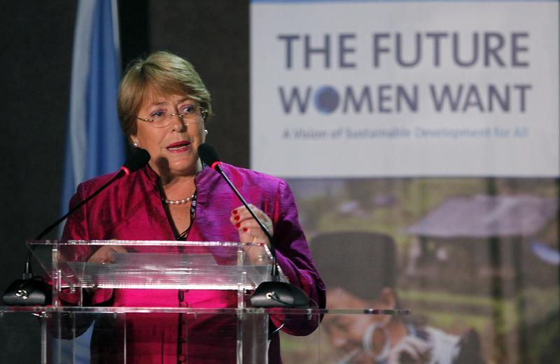 "Chile's former President and UN Women Executive Director Bachelet attends ""The Future Women Want"" conference during the Rio+20 United Nations sustainable development summit in Rio de Janeiro"