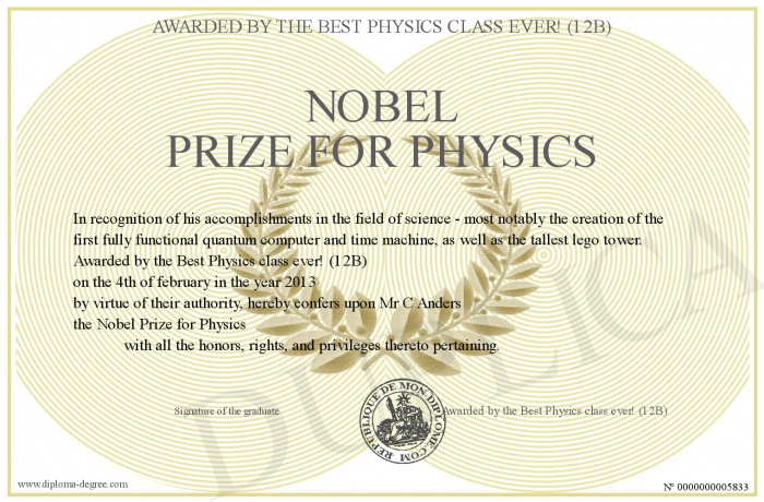 noble prize in physics essay The nobel prize was established in the twelvemonth 1895 following the award of alfred nobel who was among the chemists considered influential and powerful in the scenes of innovations it is.