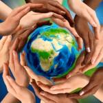 world peace globe hands